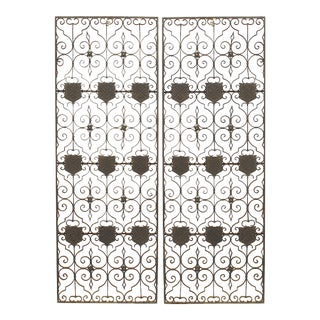 19th Century English Renaissance Black Iron Gates-a Pair For Sale