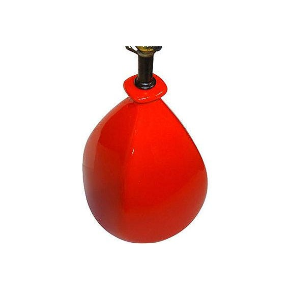In my opinion, this is one of the best Mid-Century lamps I've ever owned! Chunky large scale gives the glossy blood orange...