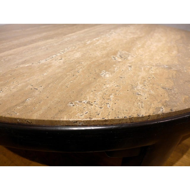 Edward Wormley Cocktail Table with Travertine Top - Image 6 of 9
