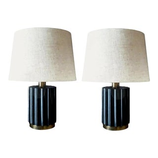 1960s Brazilian Modernist Lamps in Ebonized Wood and Bronze - a Pair For Sale