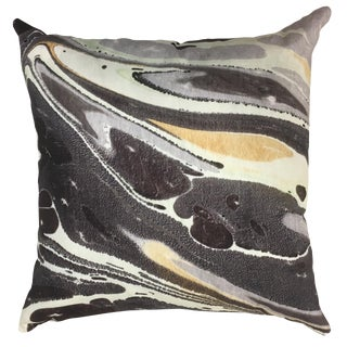 """Jill Seale Marbled Gilded Lava Pillow 22"""" For Sale"""