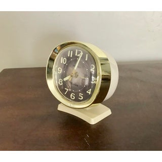 Mid Century Modern Vintage Cream, Gold & Brown Alarm Clock Preview