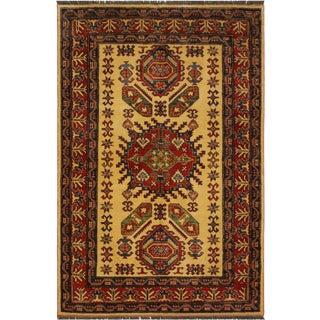 Super Kazak Garish Marlena Gold/Red Wool Rug - 4'8 X 6'3 For Sale