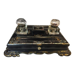 Mid 19th Century Black Lacquer Paper Mache and Mother-Of-Pearl Inlaid Desk Set For Sale