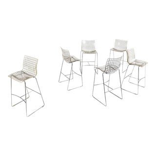 2000s, Marco Maran for Maxdesign by Knoll, Italy 'X3' Bar Stools - After Vintage Harry Bertoia 'Diamond' Wire Counter Stool- Set of 6 For Sale