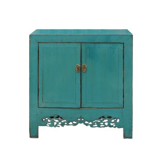 Chinese Distressed Rustic Aqua Blue Foyer Console Table Cabinet For Sale