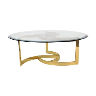 Mid Century Brass Swirl Base Round Glass Top Coffee Table For Sale
