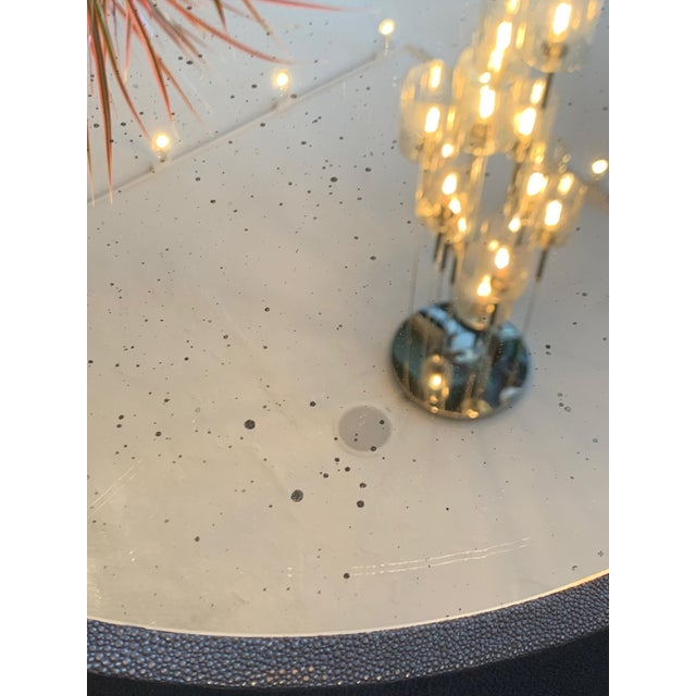 Contemporary Blue Faux Shagreen and Mirror End Table For Sale In Los Angeles - Image 6 of 7