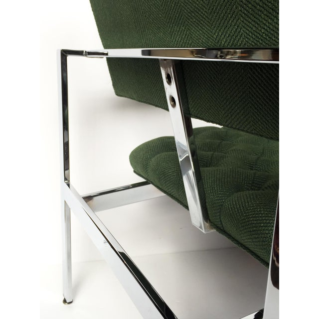 1960s Flat-Bar Chrome Club Chairs by Milo Baughman for Thayer Coggin - a Pair For Sale - Image 9 of 14