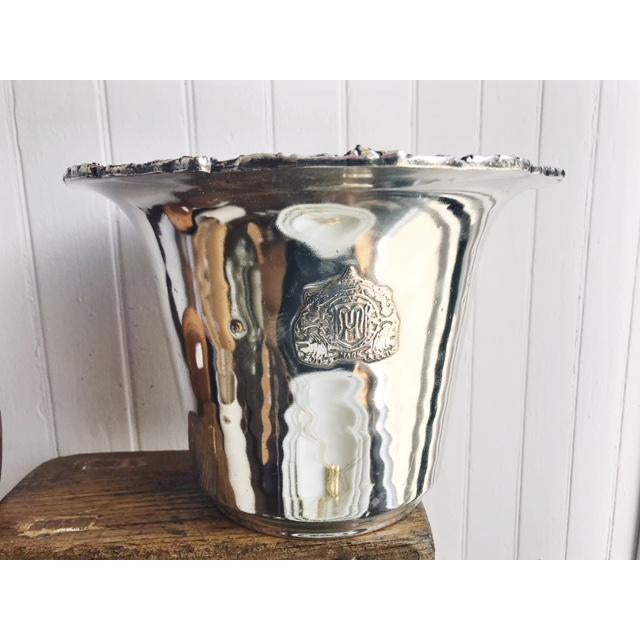 A beautiful vintage circa 1970s silver plate over brass wine or champagne cooler/ice bucket from the historic Mark Hopkins...