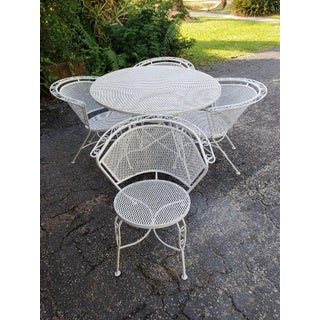 Vintage White Wrought Iron and Steel Mesh Patio Dining Set Preview