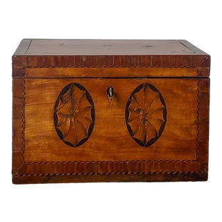 Late 18th Century George III Mixed Woods Tea Caddy For Sale