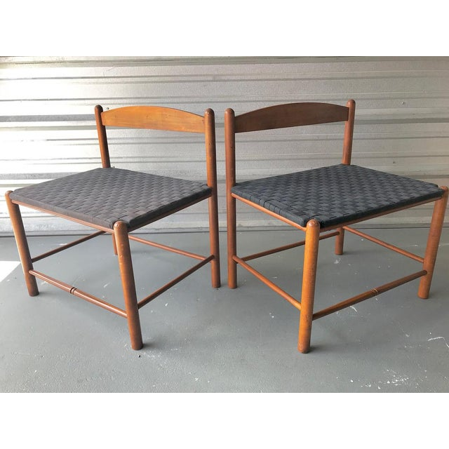 Two handsome mid century Danish style navy blue woven benches. These are great benches with high quality blue material on...