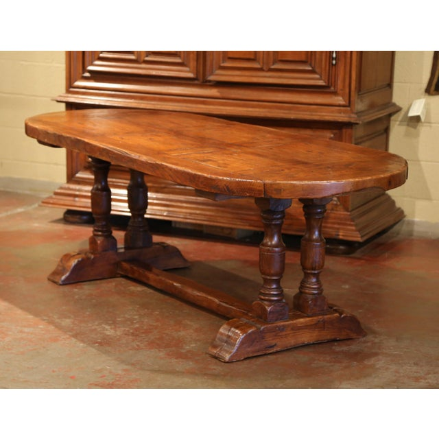 Midth Century French Oval Chestnut And Oak Rustic Trestle Farm - Oval farm table
