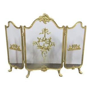 Louis XV Style Folding Brass Fire Screen For Sale