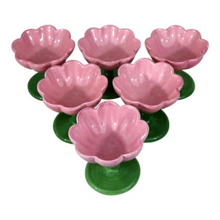 Pink Flower Dessert Bowls - Set of 6