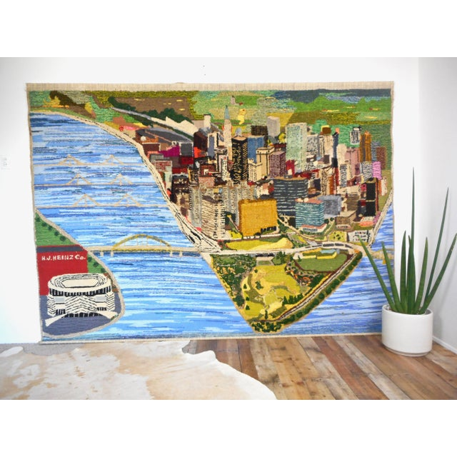 Mid-Century Modern 1960s Hand Woven Heinz Pittsburgh Pennsylvania Tapestry Fibre Art Wall Hanging For Sale - Image 3 of 12