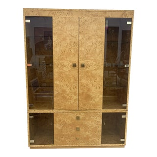 Vintage Burl Wood and Glass Display Cabinet For Sale