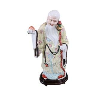 Porcelain Figure Shouxing Chinese God of Longevity Wood Base For Sale