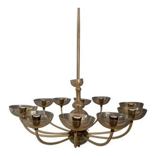 Venini Large Chandelier Designer Carlo Scarpa From 1930 For Sale