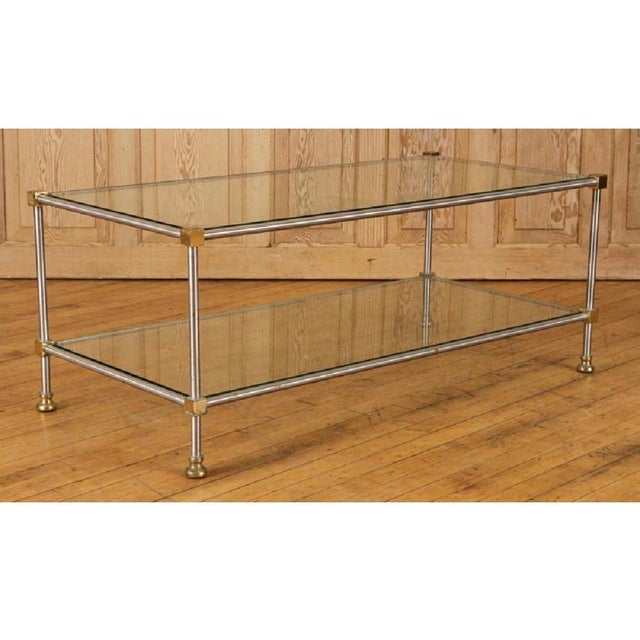 1950s 1950s French Directoire Steel and Brass Coffee Table For Sale - Image 5 of 5