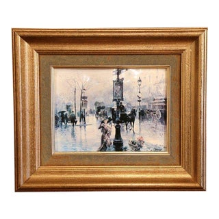 Mid-20th Century Painted on Tole Paris Street Scene in Gilt Frame Signed Palmer For Sale