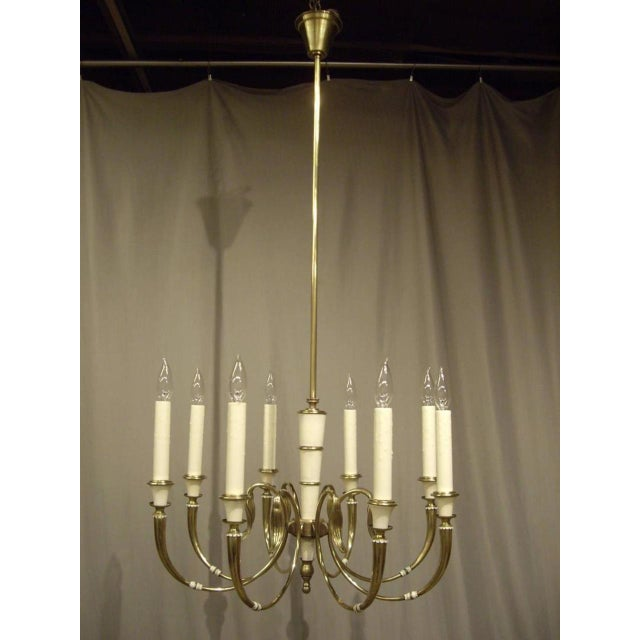 1950s Vintage French Brass 8-Light Chandelier For Sale - Image 5 of 8