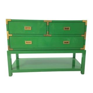 Bungalow 5 Green Lacquer Tansu Console Chest For Sale