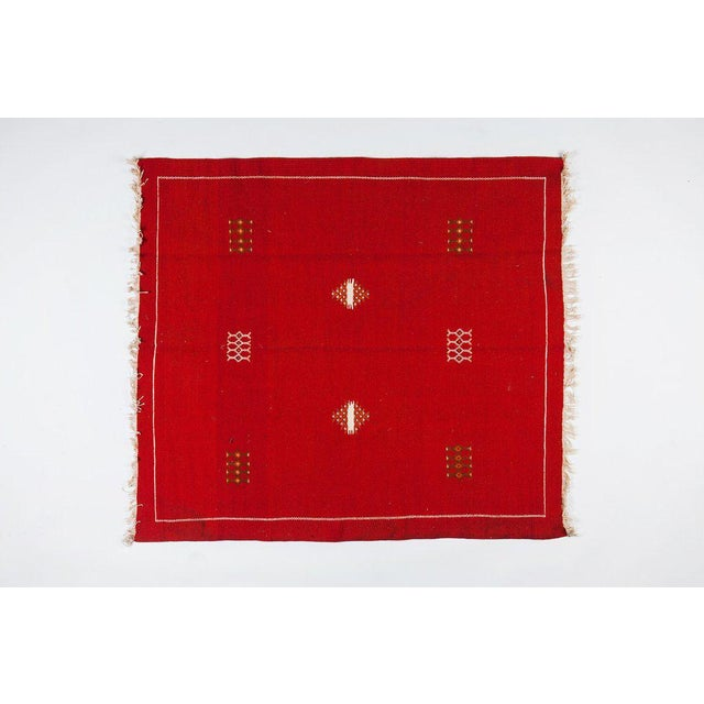 "Red Moroccan Berber Rug - 4'3"" X 4'10"" - Image 3 of 3"