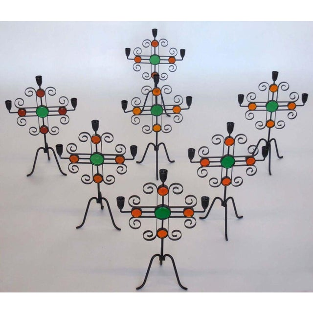 Created by Gunnar Ander in Sweden, circa 1960. Fanciful, colorful Midcentury candelabras. The whimsical look of the seven...