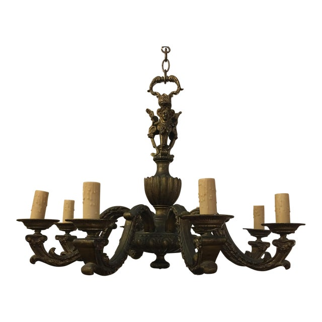 Antique Belgian Brass Chandelier For Sale