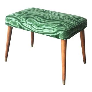 Mid-Century Modern Malachite Green Upholstered Stool For Sale