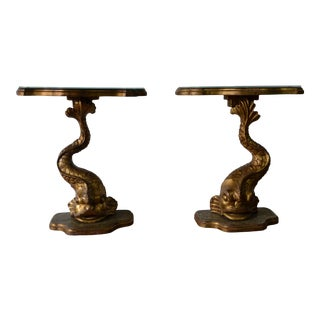 Pair of Gilt Finished Sea-Creature End Tables, Carved Wood For Sale