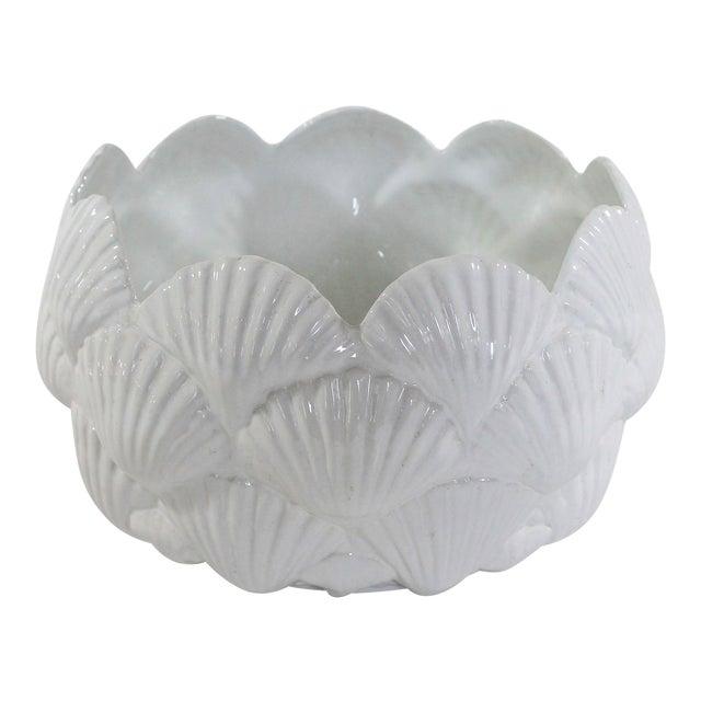 Vintage Italian White Ceramic Shell Planter Bowl For Sale