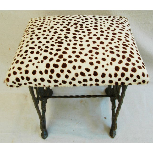 1930s Iron & Cheetah Spotted Cowhide Bench - Image 8 of 11