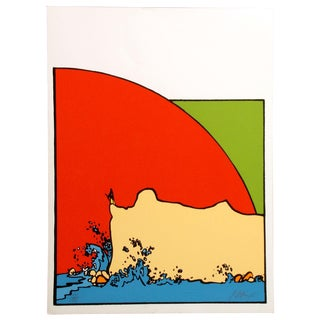 "Peter Max ""Sage on a Cliff"" Signed Numbered Vintage Serigraph Art Print Unframed C. 1974 For Sale"
