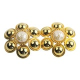 Image of 80s Vintage Laura Biagiotti Italy Nwt Huge Fx Pearl Gold Runway Earrings For Sale