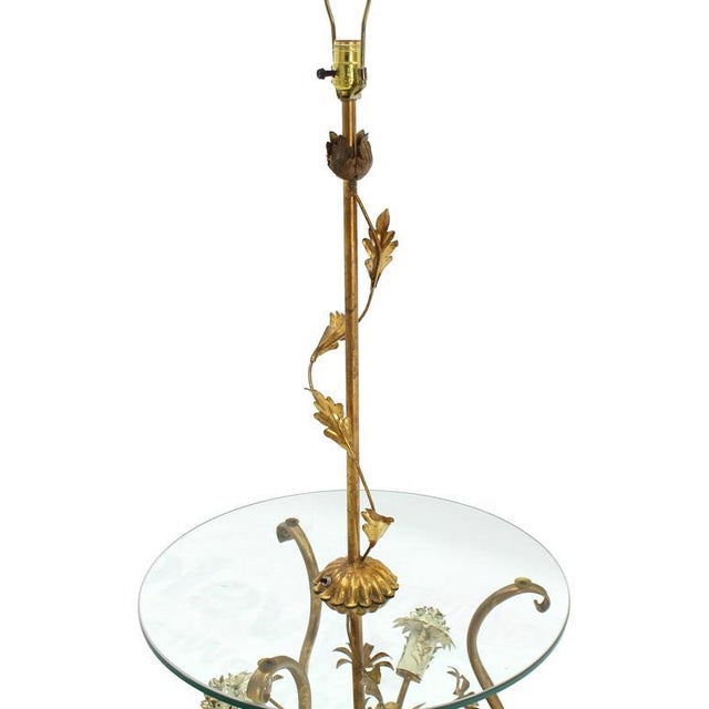 Decorative Gilt Metal Floor Side Table Lamp For Sale - Image 4 of 9