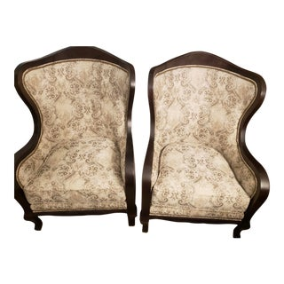 Arhaus Catania Upholstered Topaz Chairs - A Pair For Sale