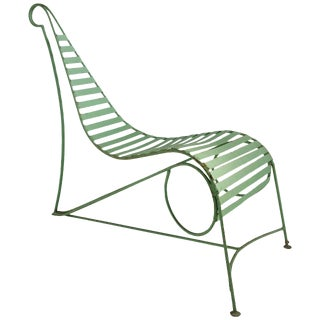 Modernist Iron Garden Lounge Chair Manner of Andre Dubreuil For Sale
