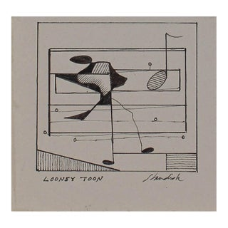 """Looney Toon"" Petite Monochromatic Musical Abstract in Ink, 20th Century For Sale"