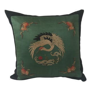Jade Silk Asian Embroidered Crane Pillow For Sale