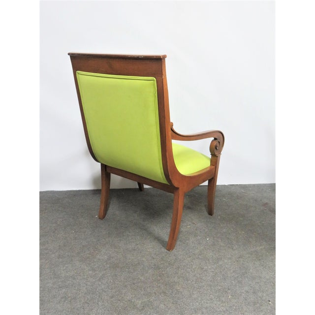 Ethan Allen Regency style chairs, cherry frames with lime green upholstery, scrolled arms, saber legs.