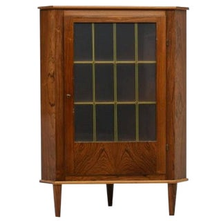 Danish Mid-Century Modern Rosewood Corner Cabinet For Sale