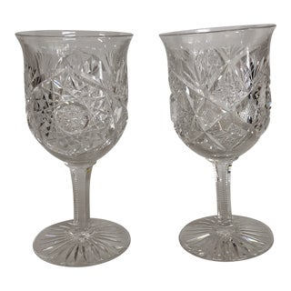 Antique Cut Crystal Toasting Goblets - a Pair For Sale