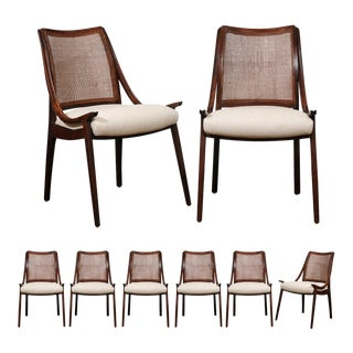 Exquisite Set of Eight Cane Chairs by Richard Thompson for Glenn of California