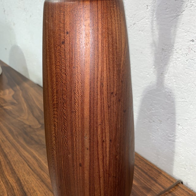 Vintage Mid Century Solid Walnut Table Lamp For Sale - Image 6 of 7
