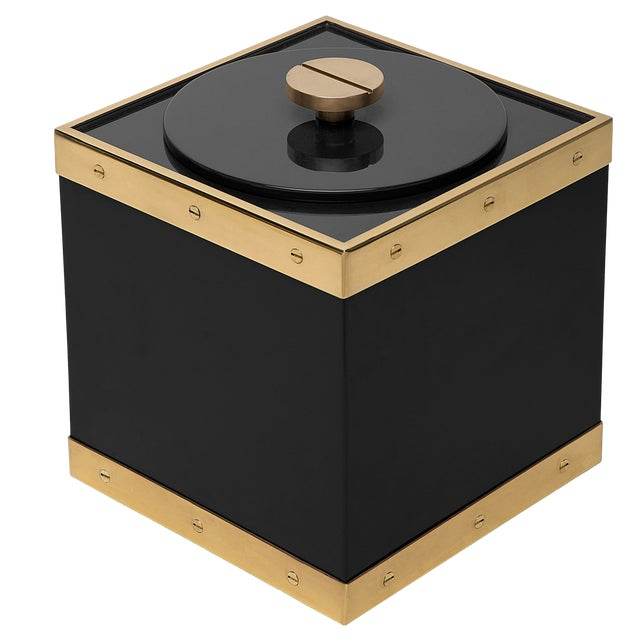 Not Yet Made - Made To Order Edge Ice Bucket in Black / Brass - Flair Home for The Lacquer Company For Sale - Image 5 of 5