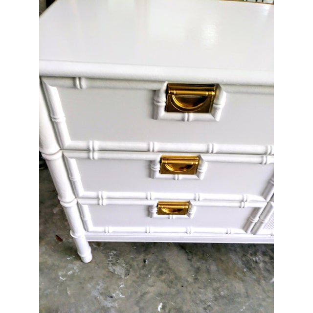 Stanley Faux Bamboo Palm Beach Regency White Gloss Campaign Style 9 Drawer Dresser For Sale In West Palm - Image 6 of 9
