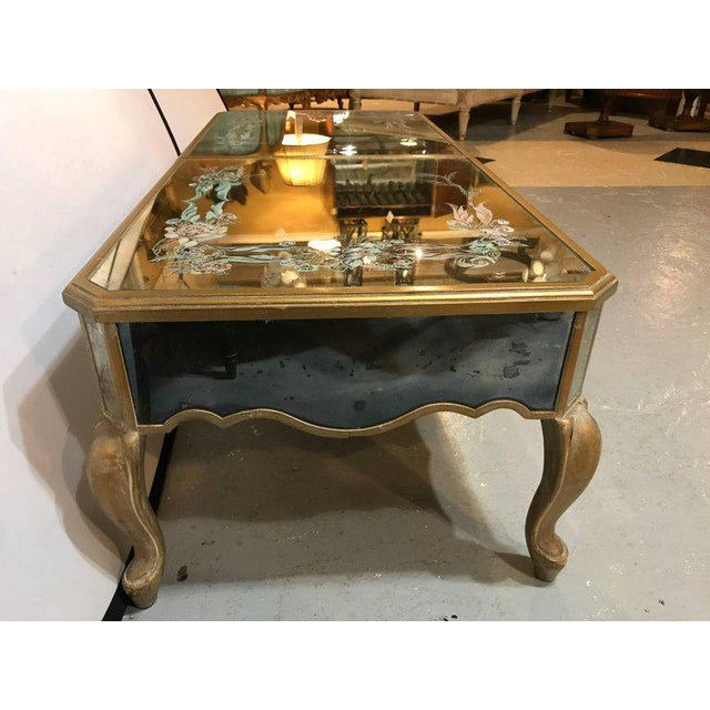 Hollywood Regency Italian Paint Decorated Sliding Mirror Top Coffee Low Table For Sale - Image 9 of 11
